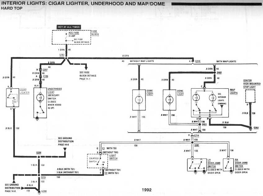 diagram_1992_interior_lights_cigar_lighter_underhood_and_map_dome_hardtop no cig lighter, radio, dome light, hatch release third  at fashall.co