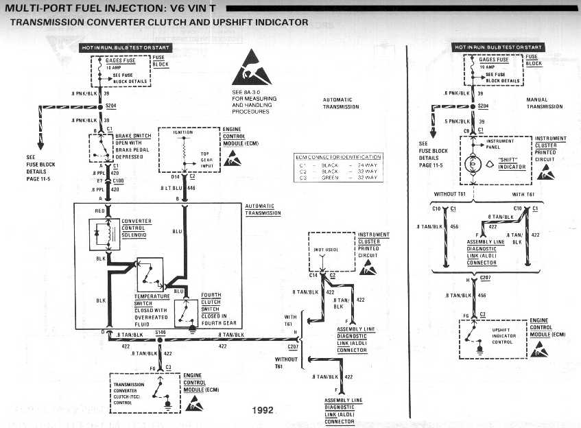 diagram_1992_multi port_fuel_injection_V6_vinT_TCC_and_upshift_indicator cruise control make into tcc switch? third generation f body 700r4 tcc wiring diagram at bayanpartner.co
