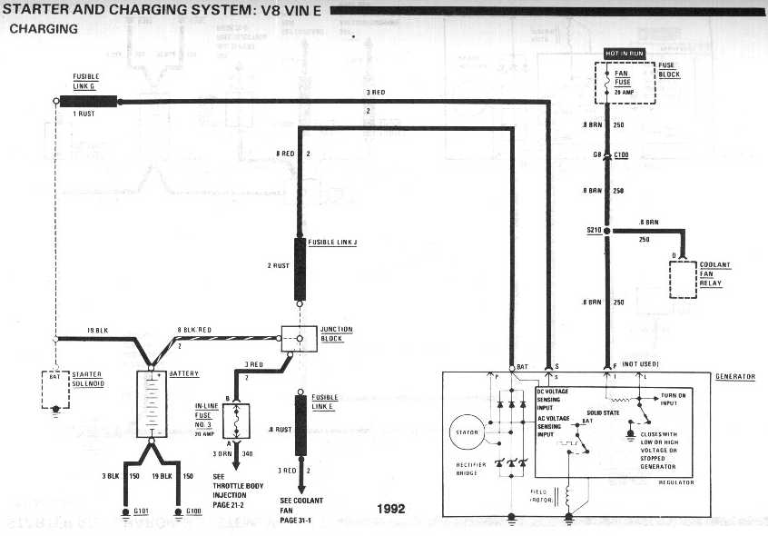 diagram_1992_starter_and_charging_system_V8_vinE_charging alternator not charging third generation f body message boards 84 chevy alternator wiring diagram at n-0.co