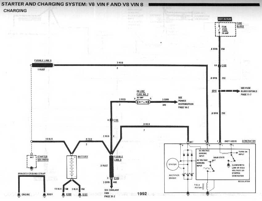 diagram_1992_starter_and_charging_system_V8_vinF_and_vin8_charging alternator not charging third generation f body message boards 1990 chevy truck alternator wiring diagrams at reclaimingppi.co
